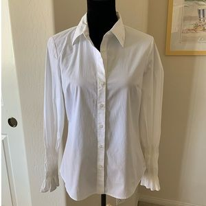 INC White Double Elastic Arm Stripes Shirt Sz 12